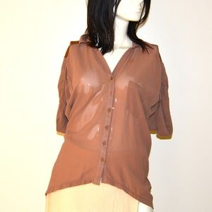 Tops - NEW S. Line Small Sheer Brown Top